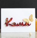 Ръчно изработена квилинг картичка с име за момиче/момче